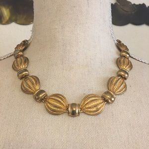 Vintage 80s gold hot air balloon link necklace